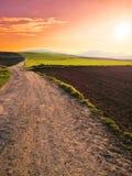 日落的草草甸在西班牙 库存图片