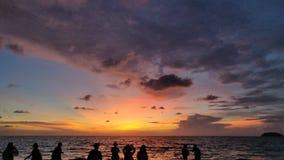 日落,马来半岛日落 库存照片