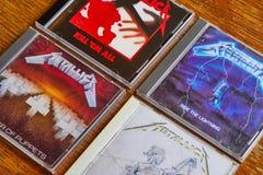 早期的册页的金属乐队CD的收藏 库存照片
