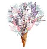 时尚例证,T恤杉的印刷品有从花的冰淇淋的