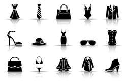 时尚和衣物象集合 向量例证
