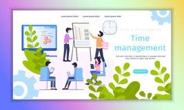 时间管理步骤改进平的横幅 向量例证