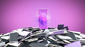 旗手模型现代整个银幕的智能手机任意颜色3d的概念回报在颜色 向量例证