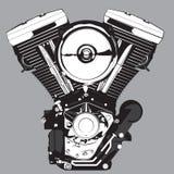 摩托车引擎 在黑白的向量例证 皇族释放例证