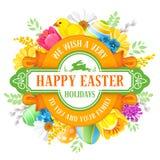 愉快的复活节问候圈子设计 免版税库存图片