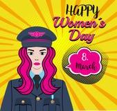 愉快的WomenÂ的天- 8 行军 妇女字符-战士,飞行员,thw空军的,上尉美国军队 有一根桃红色头发的Pinpup女孩 库存例证