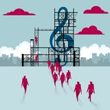 Lifting music symbol. A group of businessmen walked to the building site vector illustration
