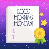 手写文本早晨好星期一 概念意思愉快的阳精力充沛的早餐 向量例证