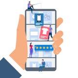 手有微小的人民的举行智能手机 购物 向量例证