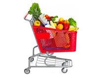 手推车用食物果子和豆类 库存图片