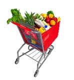 手推车用食物果子和豆类 免版税库存图片
