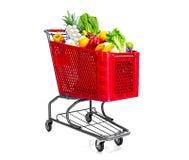 手推车用食物果子和豆类 免版税库存照片