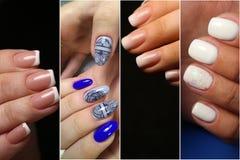 拼贴画修指甲钉子设计 在名片的修指甲设计 免版税图库摄影