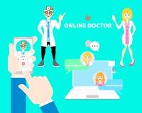拿着手机的手和手指告诉闲谈医生,与男性和女性医生,telehealth概念的网上医疗保健 库存例证