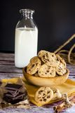 曲奇饼挤奶和巧克力 免版税库存照片