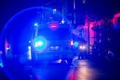 曼谷泰国:2019年3月15日:在应急照明的图象的噪声在救护车的 图库摄影
