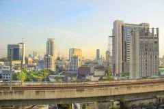 曼谷,泰国摩天大楼的美丽的景色  免版税库存照片