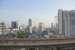 曼谷,泰国摩天大楼的美丽的景色  库存照片