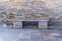 Stone benches in the scenic area. Carved stone bench,Stone benches in the scenic area stock photography