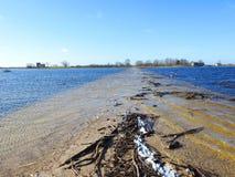 洪水区域和方式在春天,立陶宛 免版税图库摄影