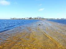 洪水区域和方式在春天,立陶宛 免版税库存照片
