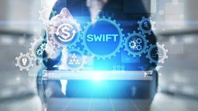 斯威夫特国际付款系统财政技术银行业务和汇款概念在虚屏上 库存例证