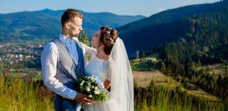 新婚佳偶微笑并且互相拥抱在草甸中在山顶部 婚姻的步行在山的,柔和森林 图库摄影