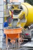 新维德,德国- 2019年2月1日:卡车司机等待直到从灰浆运输者的临死流程到水泥筒仓里 库存图片