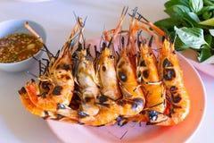 新鲜的虾烧了 免版税库存图片