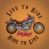 活的摩托车为T恤杉印刷品乘坐 库存例证