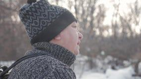 活跃参与北欧走一名年长妇女用在冬天森林健康生活方式概念的棍子 成熟 股票录像