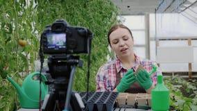 活跃女孩博客作者记录关于从事园艺的录影她的vlog的 股票录像