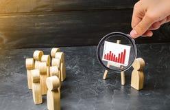 放大镜看人民为领导的会议或讲话会集了 赢利和收入分析逻辑分析方法 免版税库存图片