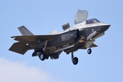 Æreo a reazione del fulmine II di RAF Lockheed F-35 fotografia stock libera da diritti