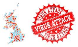 火和雪花和病毒攻击被抓的邮票英国的拼贴画地图  库存例证