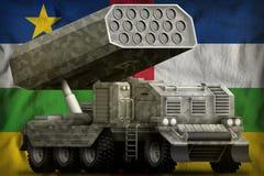 火箭队火炮,有灰色伪装的导弹发射装置在中非共和国国旗背景 3d例证 向量例证