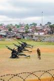 火炮在显示的大炮枪在地方乡 免版税库存照片