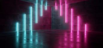科学幻想小说蓝色桃红色紫色霓虹未来派计算机国际庞克发光的减速火箭的现代充满活力的光激光展示空的阶段室反射性的霍尔 库存例证