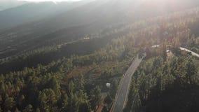 空中射击 驾车在山柏油路在日落 簪子轮 飞行 围拢由绿色森林  影视素材