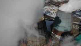 空中巨型通入蒸汽的燃煤发电站 Eclolgy问题概念 股票视频