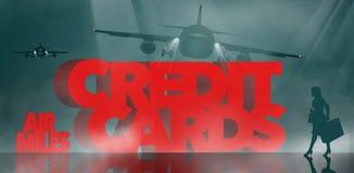 空气奖励,飞行英里奖励信用卡是主题 词飞行英里信用卡由出差者围拢 库存例证