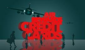 空气奖励,飞行英里奖励信用卡是主题 词飞行英里信用卡由出差者围拢 皇族释放例证