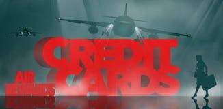 空气奖励,飞行英里奖励信用卡是主题 词飞行英里信用卡由出差者围拢 向量例证