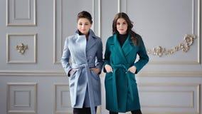 穿优等的时髦的大衣的时装模特儿摆在和看照相机 股票视频