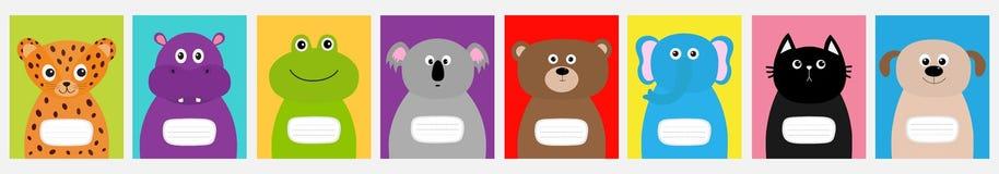 笔记本盖子集合线 猫,狗,捷豹汽车,河马,大象,熊青蛙考拉 动物园动物面孔逗人喜爱的动画片字符集 向量例证