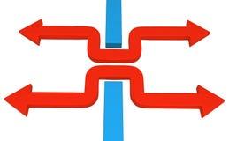 箭头蓝色块挤压 向量例证