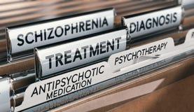 精神健康状况、精神分裂症诊断和治疗与抗精神病的疗程和精神疗法 向量例证