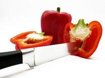 红辣椒和发布在白色背景自由保有权所有人 库存图片