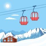 红色滑雪长平底船推力在冬天雪山、小山、瑞士山中的牧人小屋、手段房子和太阳背景的一条空中览绳移动  库存例证