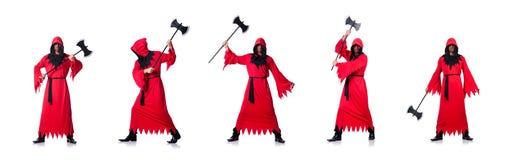红色服装的刽子手有在白色的轴的 免版税库存图片